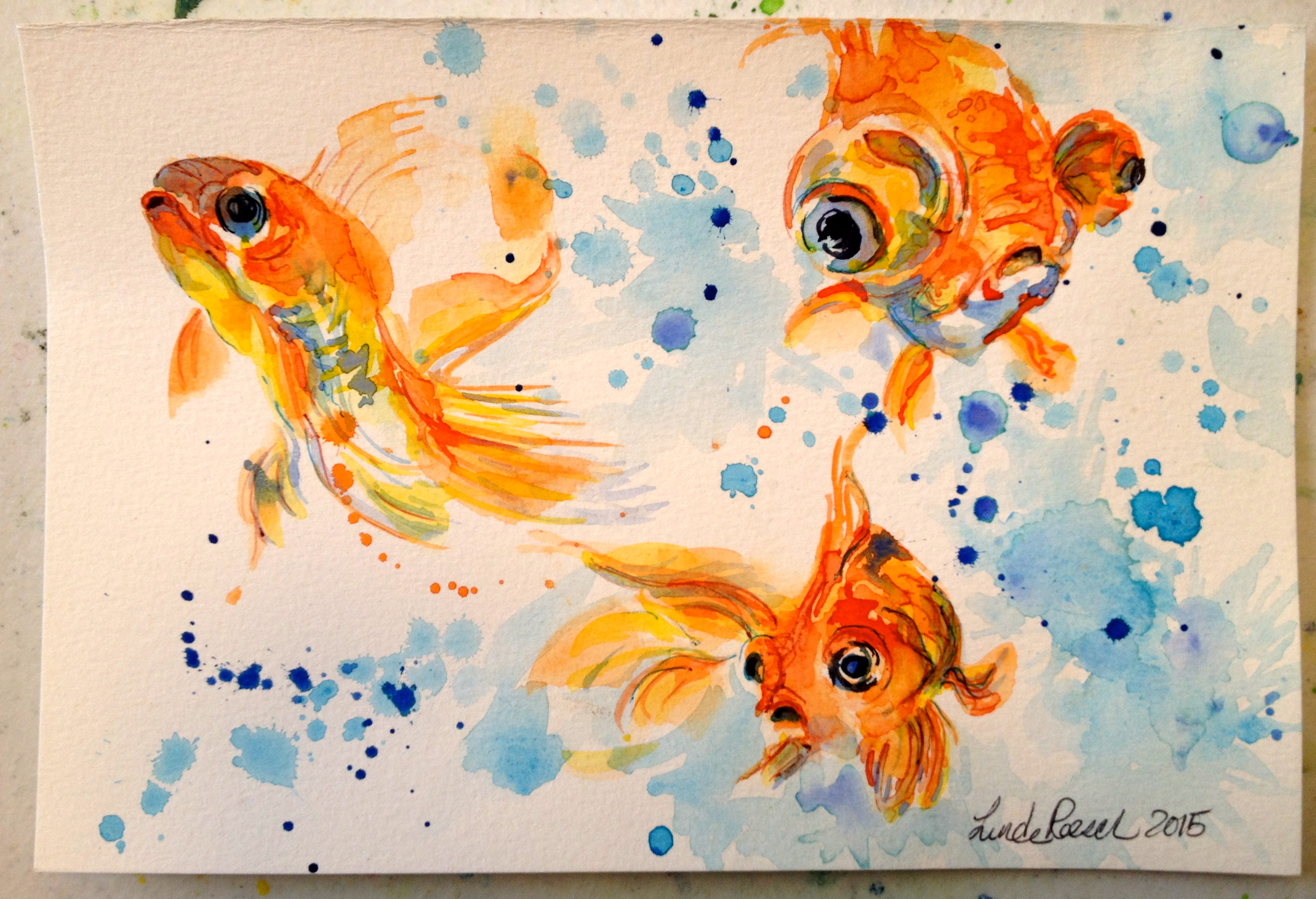 Fish tank painting - I Was Kind Of Thinking Of My Mom When I Painted These Goldfish She Loved Watching Her Fish Tank So Much So That One Year For Her Birthday I Painted A Deep